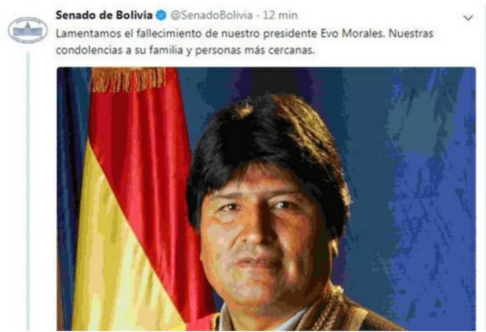 Hackean cuenta del senado Evo Morales