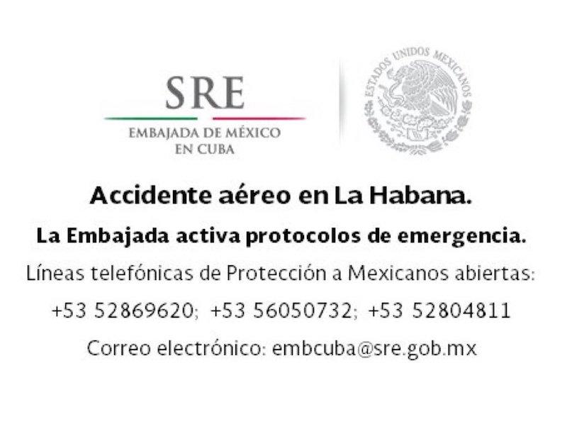 Comunicado de la Secretaría de Relaciones Exteriores avión accidente aeropuerto La Habana