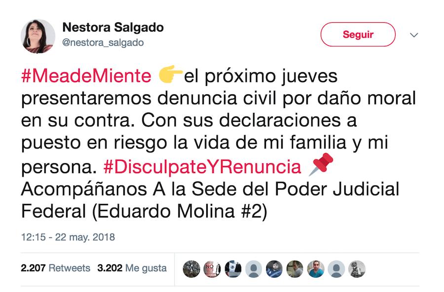 Nestora Salgado responde a Meade y anunció que lo demandará por difamación