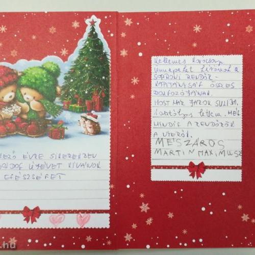 Egy soproni kisfiú megható képeslapon kívánt boldog karácsonyt a soproni rendőröknek
