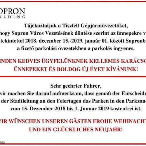Két hétig ingyenes lesz a parkolás Sopronban!