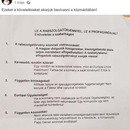 Ezeket a pontokat szeretnék a közmédiában beolvasni a tüntetők Budapesten