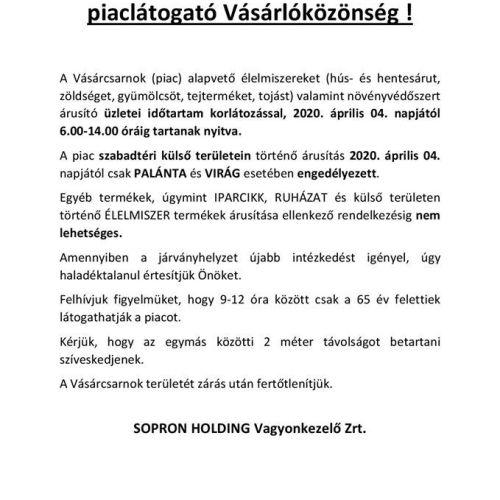 Tiszta vizet öntött a pohárba a soproni piac nyitva tartása ügyében a Holding