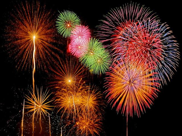 Winter Fireworks Festival on Kawaguchiko-lake