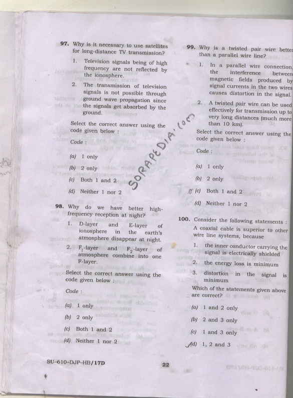 Deputy Central Intelligence officer Technical, Exam Papers