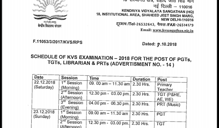 Download Admit Card For KVS Exam 2018 For Librarian,PGT & TGT Exam