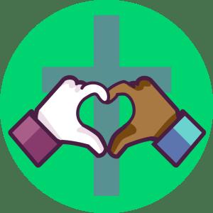 Illustration av ett kors och ett handhjärta