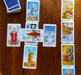 Tarot Cards Celtic cross spread shows a happy reading.