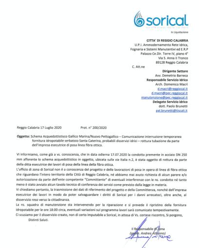 Reggio, rottura condotta Gallico durante lavori di posa fibra ottica Schermata 2020 07 17 alle 17
