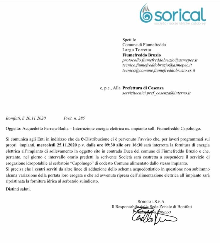 Mercoledì 25/11 interruzione impianto Fiumefreddo img 5486