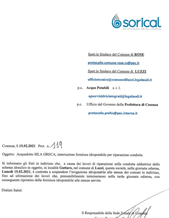 Interruzione acquedotto Sila Greca per Rose e Luzzi img 6264