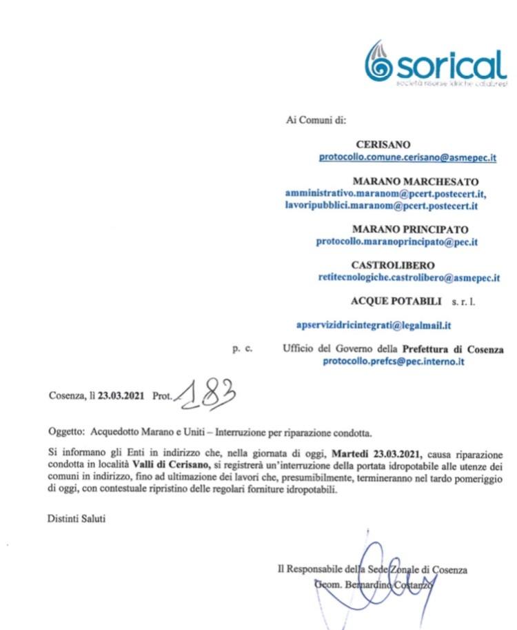 Stop erogazione acquedotto Serre cosentine img 6528