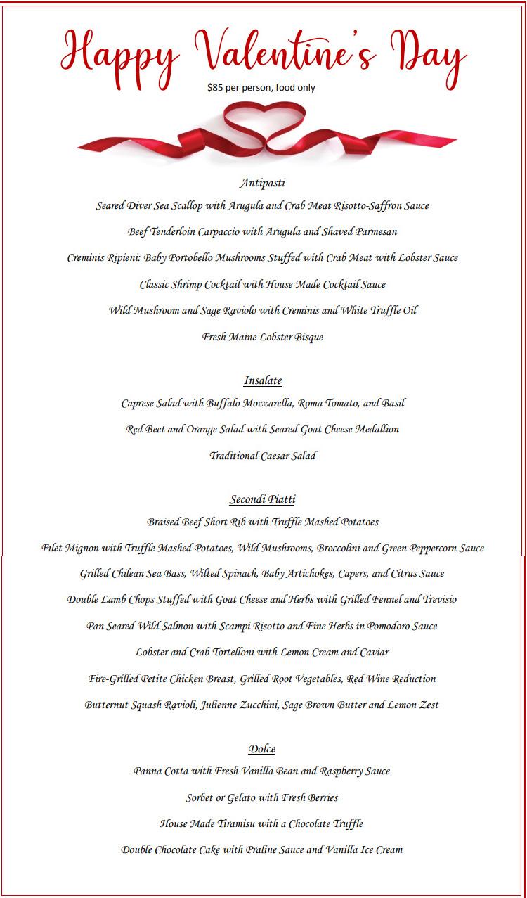 Sorrento Valentines day menu