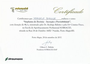 """Certificamos que Marcelo Borille realizou o curso: """"Implantes de Zircônia - Inovação e Previsibilidade"""""""