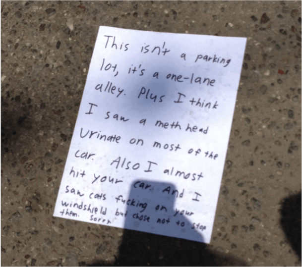 Five Nonapology Apologies Left On Windshields SorryWatch - 29 hilarious passive aggressive notes to bad parkers 4 killed me
