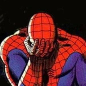 spiderman is sad.