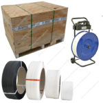 Pallet strapping with plastic strap.