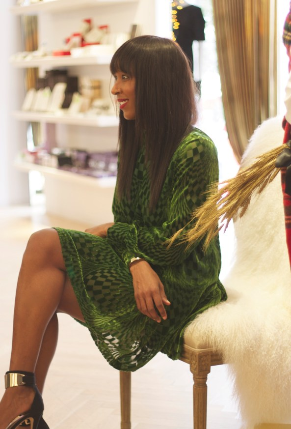 Anna Sui Green Burnout Velvet Dress