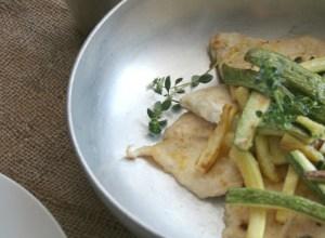 Scaloppine di Pollo al Limone, Zucchine e Timo limone