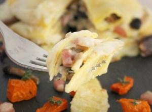 Lasagnette di Zucca con Funghi Pioppini e Pancetta