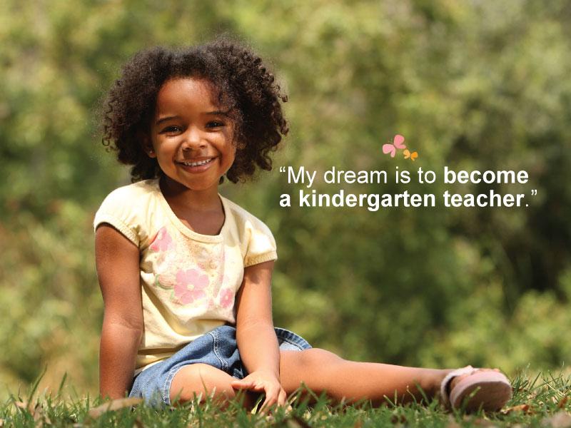Little Girl's Dream to Become Kindergarten Teacher
