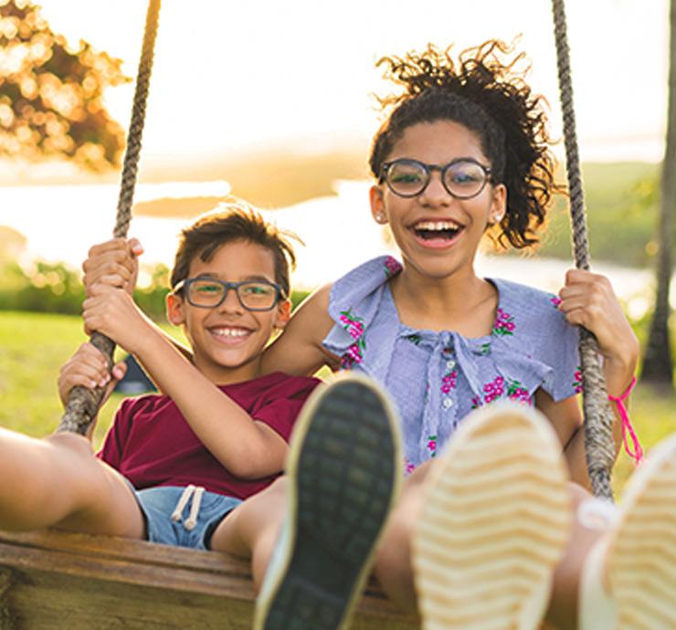 Siblings having fun