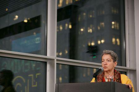 Judge Gloria Chever giving a talk