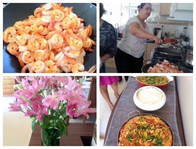 detalhes do almoço com camarão thai