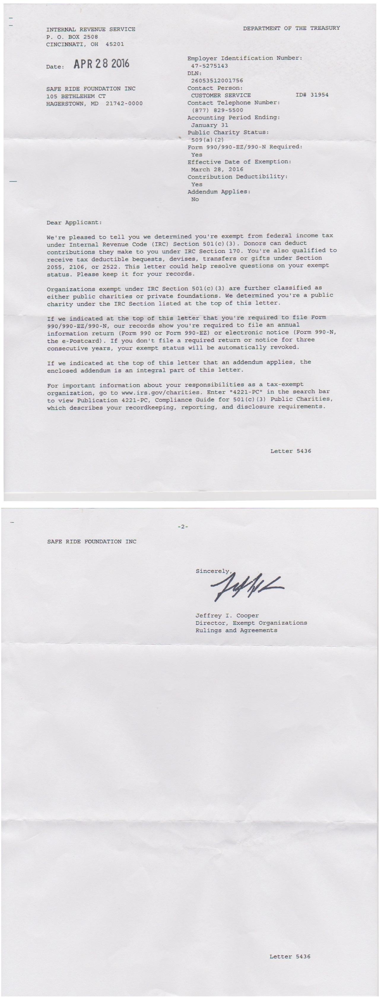 Irs 501 C 3 Determination Letter