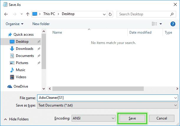 Save_As_Desktop_AdwCleanerS1_Logefile_Adwcleaner_sos-malware2 Tutorial Adwcleaner - Scan Option