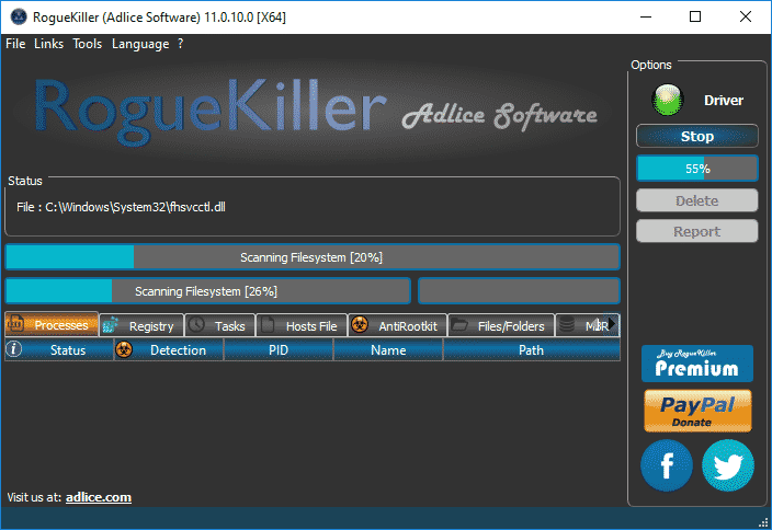 Scaning_Option_RogueKiller_sos-virus Tutorial RogueKiller - Scan Option RogueKiller Adlice Software