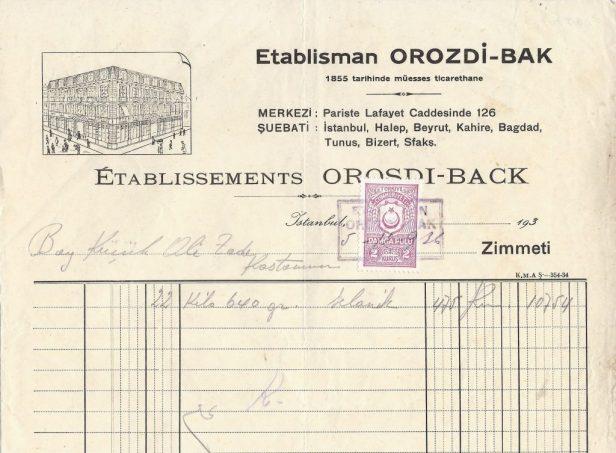 Resim 2: Orosdi Back 1937 yılı antetli fatura