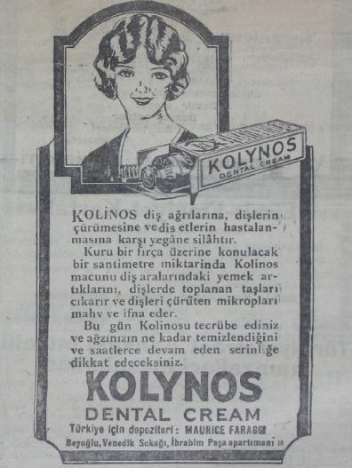 Resim 2: 30 Mart 1929 tarihli Cumhuriyet Gazetesinde yer alan Kolynos diş macunu reklam afişi (Kaynak: http://gazeteler.ankara.edu.tr/dergiler/62/1745/27143.pdf) Erişim: 25.06.2016