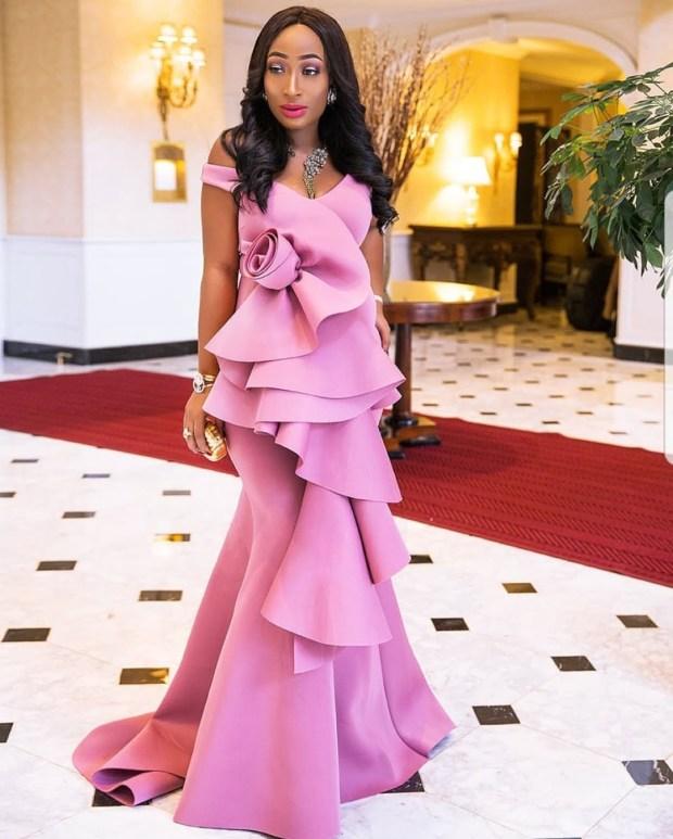 rose gold ruffled dress