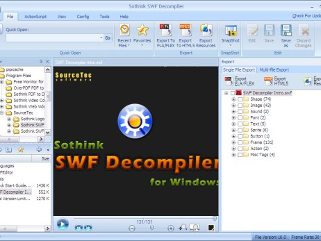 Screen shot of sothink swf decompiler
