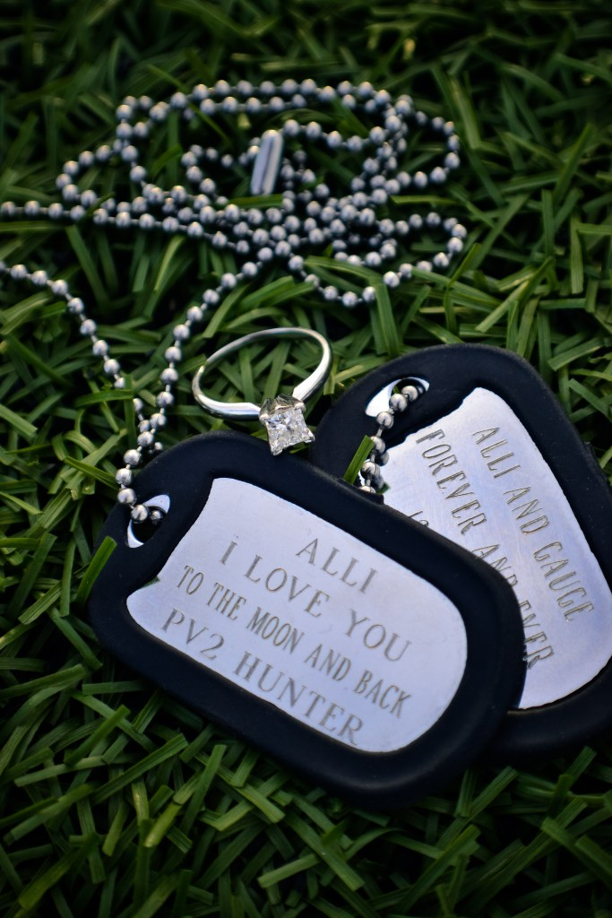 Engagement Ring Dog Tags Military Couple