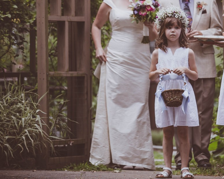 Flower Girl Wearing Baby's Breath Floral Crown