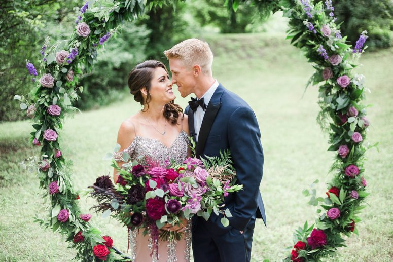 Red, Pink, and Purple Wedding Florals and Wreath