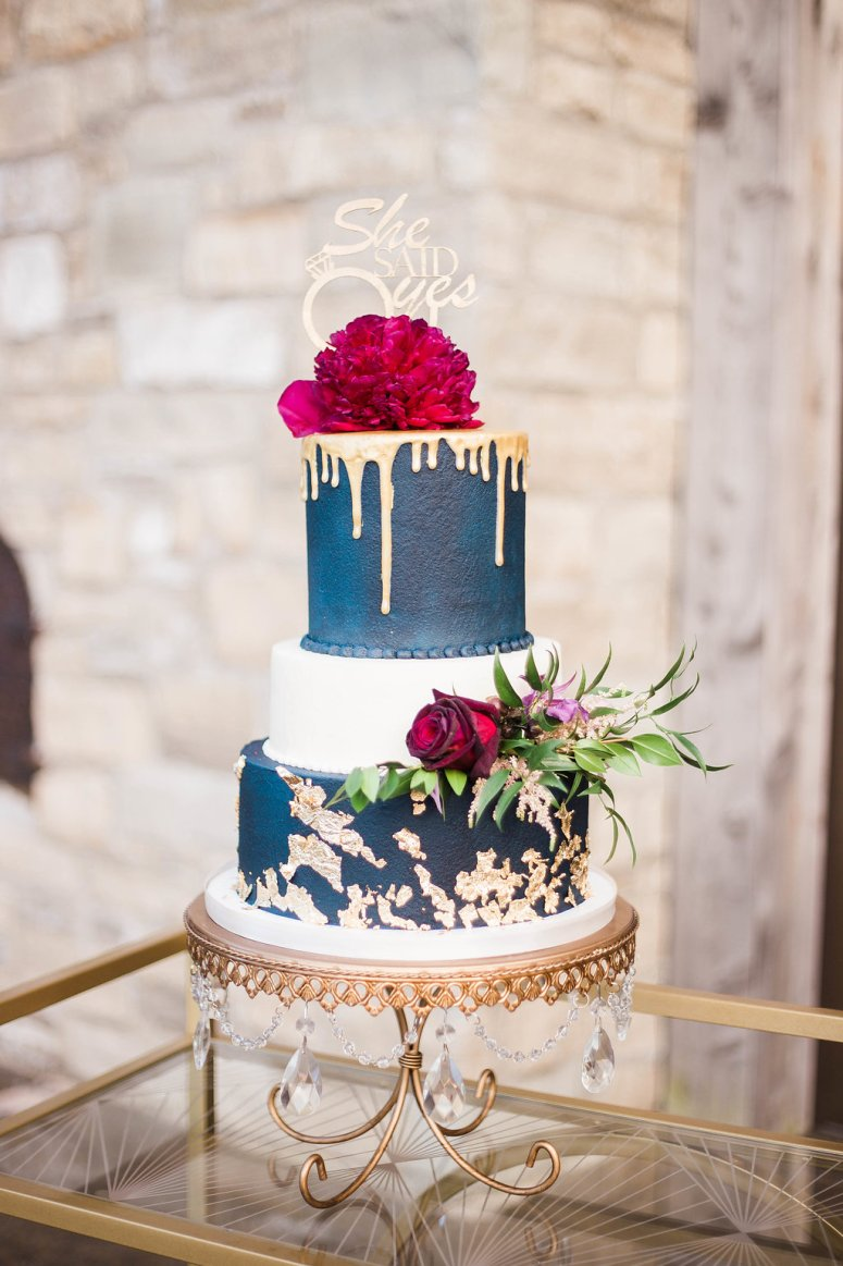 Blue and Gold Wedding Cake with Fresh Florals