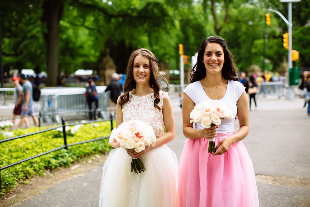 Bride and Bridesmaid wearing Tulle skirts at Central Park wedding