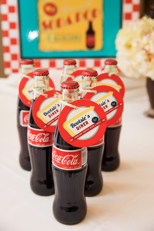Glass Coca Cola bottles with table numbers