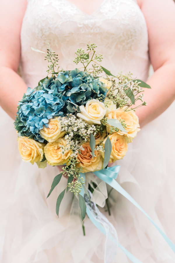 Blue & Gold Bridal Bouquet