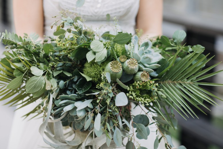 bridal bouquet with greenery and succulents