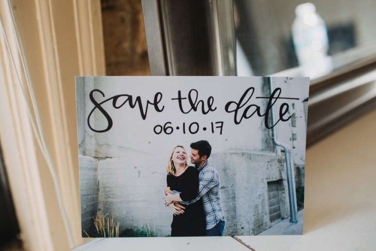 save the date photo with calligraphy