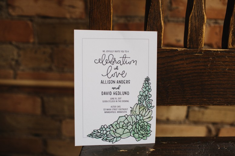 succulent wedding invitation with calligraphy