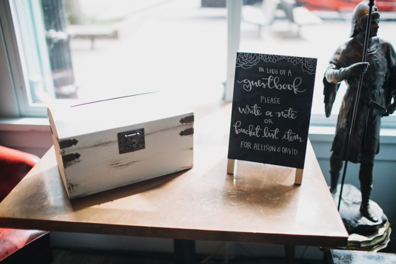 unique guestbook idea at intimate wedding