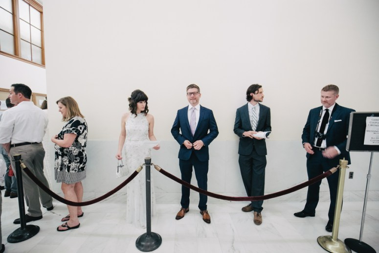 Bride and Groom in line at City Hall
