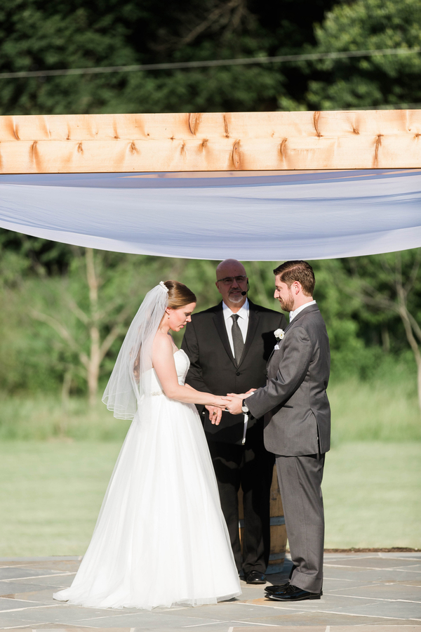 bride and groom holding hands during wedding vows