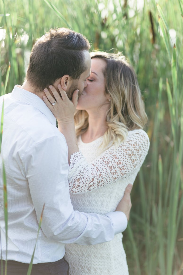 Bride and Groom Kissing at Engagement