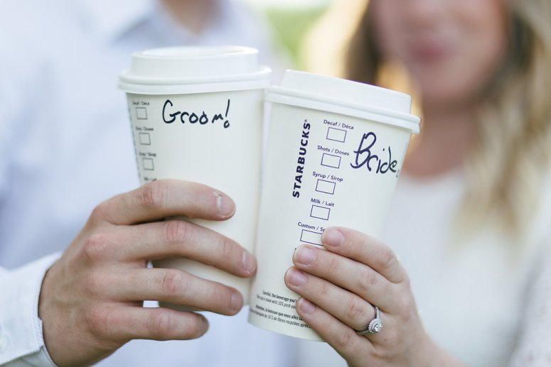 Bride and Groom Starbucks Cup